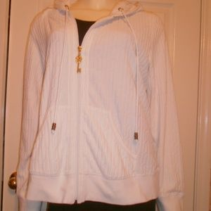 CABI HOODIE White Zip up Cardigan  Sweater sz L